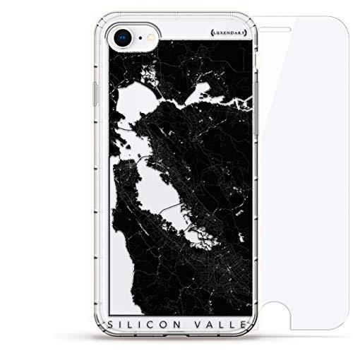 Karten: Silicon Valley Streets Map - Luxendary Air Series 360 Bundle: Transparente Schutzhülle mit 3D-Druck und Luftkissen + Hartglas für iPhone 8/7 (Silicon-valley-karte)