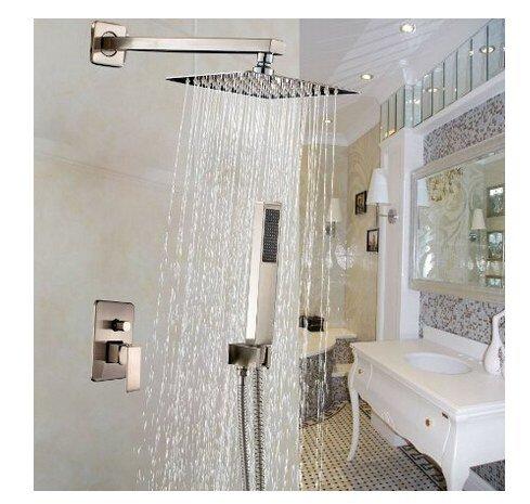 Gowe ? NEUF à fixation murale 25,4 cm Nickel brossé pluie de douche robinet mitigeur monocommande avec douchette à main