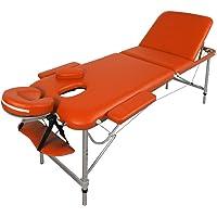 Table de Massage - Alu - seulement 11kg, pliante Confort, beaucoup d'accessoires, 3 zones, ORANGE