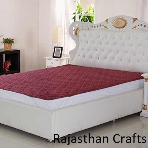 Rajasthan Crafts Microfiber Double Bed 100% Water Proof and Dust Proof Mattress Protector (72x78inch; Maroon)