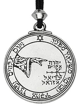 Handgemachte Talisman des Mond 5. und 6. Pentagramm Zinn Power Anhänger (auf schwarzer Schnur)