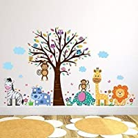 """Walplus Wall Stickers """"Happy London Zoo"""" Removable Self-Adhesive  Art Decal Murals Nursery Restaurant Cafe Hotel Building Office Home Decoration"""
