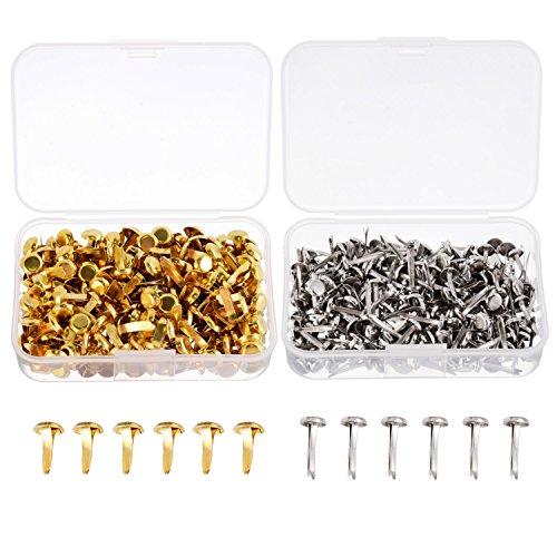 500 Stück Papierverschlüsse Messing überzogenes Scrapbooking Brads Rundes Metall Brads mit Aufbewahrungsbox für Handwerk machen DIY, Gold und Silber (Brads Mini Gold)