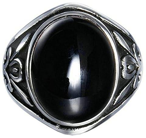 Acier Inoxydable Bague, Homme Bande De Mariage Fleur Noir Cristal Taille 61.5 Epinki