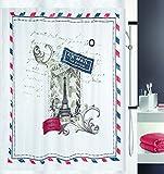 Spirella Anti-Schimmel Duschvorhang Briefmarke Paris Anti-Bakteriell, waschbar, wasserdicht Polyester 180x200cm