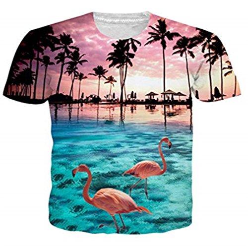 Funnycokid Herren T-Shirts 3D Drucken Animal Lustig Große Muster Flamingo Unisex Urlaub T-Shirts Flamingo-muster