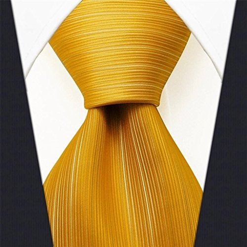 Intrepid Executive Wardrobe Accessory , Handmade 100% Classic Silk Woven Solid Gold Men's Neck Tie, (3.4 Necktie) by Intrepid Woven Mens Tie