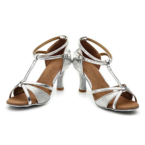 HIPPOSEUS Donna Ballroom Scarpe da ballo /sala da ballo scarpe/Scarpe da ballo latino standard di Raso,Modello-IT255 7CM Argento