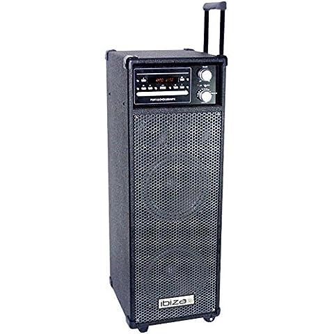 Ibiza 10001974 - Reproductor digital (con altavoz activo y amplificador de 600W,USB, MP3, DVD, CD), color negro