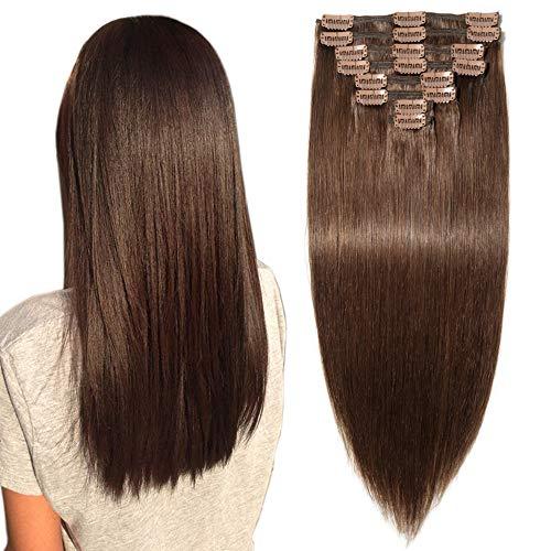 Clip in Extensions Echthaar Remy Haarverlängerung für komplette Haare 8 Tressen Doppelt Dicke 35cm-120g(#4 Schokobraun)