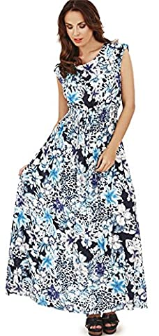 Pretty Ladies Animal Floral Print Maxi Dress with Cap Sleeves, Blue, Large