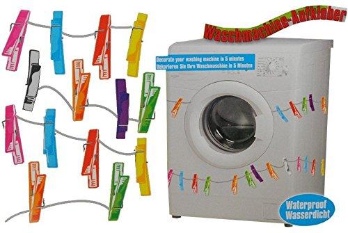 Preisvergleich Produktbild Aufkleber / Sticker - z.B. für Maschmaschine - wasserfest - 28 Wäscheklammern bunt - Sticker Tattoo Waschmaschinen - Badezimmer Deko