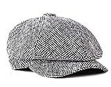 Schirmmützen Herren Flat Caps Stricken Barette Fischgrätmuster Gatsby Mütze (Grau)