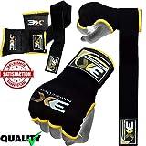 Professional Choice 3X Training Innenhandschuhe MMA Martial Arts Muay Thai Kick Boxing Inner Quick Wrist Wrap Bandagen Gel Gepolstert (Black, S/M)