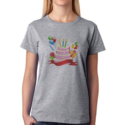 Birthday Cake Candles Presents Balloons Damen T-Shirt Grau