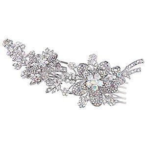 Ever Faith Damen Haarkamm Österreichische Kristall 6 Zoll Bridal Filigrane Blume Blatt Bowknot Haare kämmen