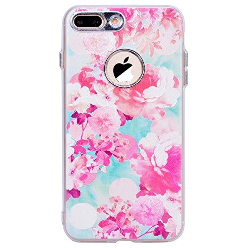 WE LOVE CASE Coque iPhone 8 Plus, Souple Gel Coque iPhone 8 Plus Silicone Motif Fine Coque Girly Resistante, Coque de Protection Bumper Officielle Coque Apple iPhone 8 Plus Vert Rose