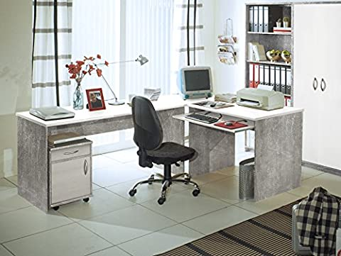 OFFICE COMPACT Winkelkombination, Beton/weiss