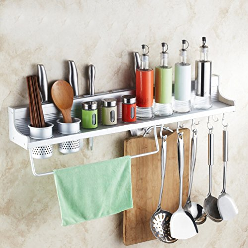 Wall Mounted Kitchen Spice Rack w/ Utensil / Pot / Pan Hanger Hooks, Silverware Caddy, Knife Slots (60cm-2 cups) (Hook Hanger Caddy)
