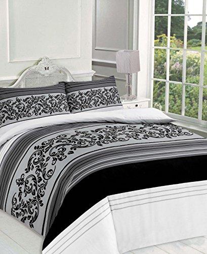 Maria Luxus Bettwäsche & Bettwäsche Hotel Qualität Super King Größe Design Gestreift Schwarz Bettbezug Set Bettwäsche-Set mit Kissenbezügen–Super King Size