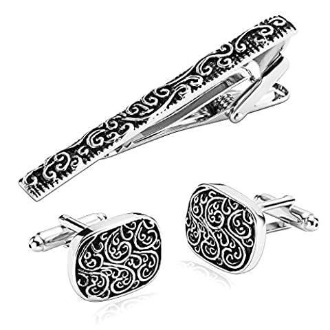 Aooaz Men's Tie Clip and Cufflink Set, 3Pcs Stainless Steel Silver Black Rectangle , Clasp Bar Pin Shirt