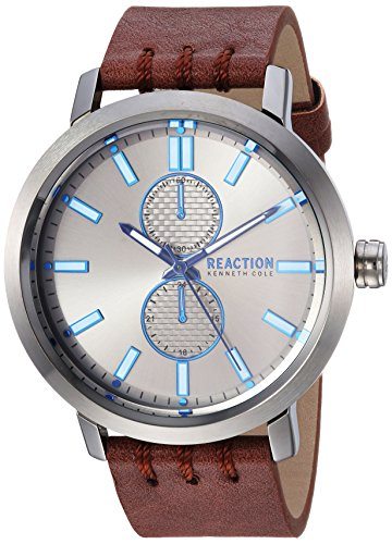 Kenneth Cole REACTION Men's Quartz Metal and Leather Casual Watch, Color:Brown (Model: RK50098002)