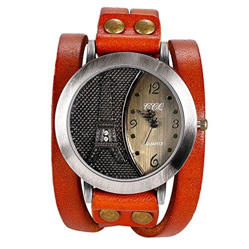 Lancardo Retro Herren Armbanduhr Breit, Analog Quarz Sport Strass Paris Eiffelturm Uhr mit Leder Armband geflochten, orange -