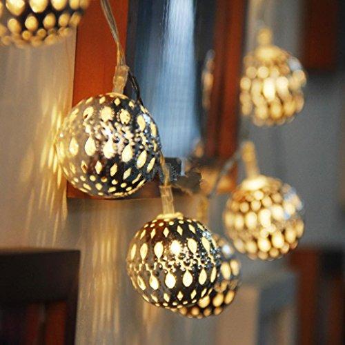 Warmweiß LED Lichterkette innen silberne Kugeln Marokkanische Batteriebetrieben --Ideal für Hochzeit, Weihnachten, Party, Heim-Dekoration ()