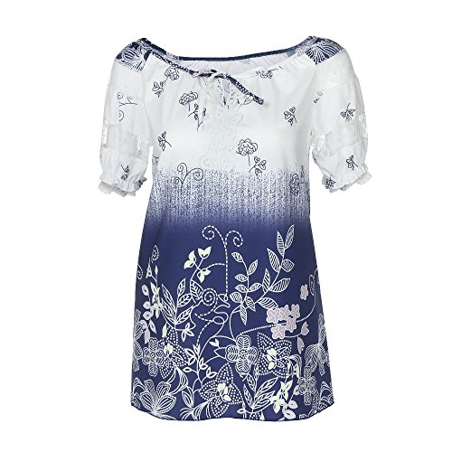 VJGOAL Damen T-Shirt, Damen Mode Kurzarm V-Ausschnitt Spitze Gedruckte Spitze Tops Sommer Lose T-Shirt Bluse (XL / 42, Weiß)