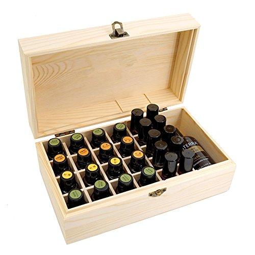 Beunyow 36 Löcher Tragbar Holz Aromatherapie Geschenk-Box Ätherische Öle Flaschen Box Aufbewahrung Koffer Box - Geeignet für Nagellack, Duftöle, Ätherisches Öl, Stain und Lippenstift
