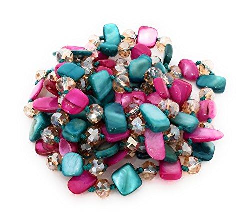 Halskette Damen Bijouterie Modeschmuck Perlmuttkette mit Perlmutt und Kristall Perlen, Als Kurze Kette oder Lange Kette zu Tragen - Pink Türkis