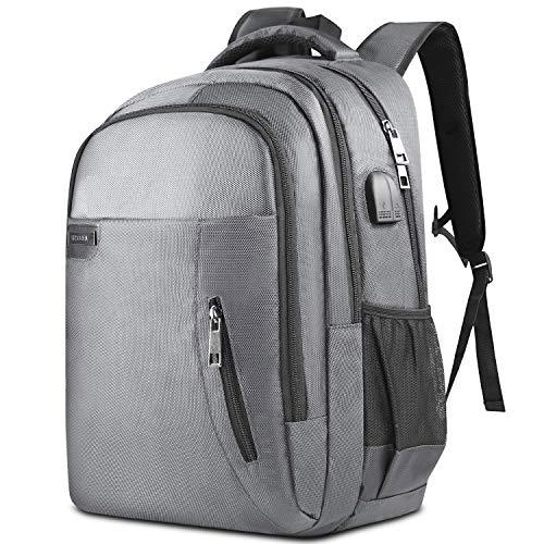 KUSOOFA Herren Rucksack, Business Laptop Rucksack, Studenten Wasserdicht Notebook Backpack, 17.3 Zoll Schulrucksack mit USB-Ladeanschluss, Vielen Taschen und Fächern (BR1-Grau)