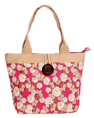 Fortuning's JDS® Nuovo stile floreale tela stampata con disegno del tasto di legno borsa da lavoro borsa tote rosa stile orologio