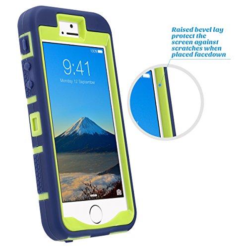 iPhone 5s SE Hülle, ULAK iPhone 5S Case 3in1 Stoßfest Hybrid High Impact Hart PC und Weiche Silikon Schutzhülle Tasche Case Cover für Apple iPhone 5/5S/SE (Schwarz+Lila) Gelb + Marine