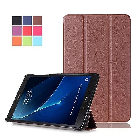 Skytar Coque Galaxy Tab A 10.1,étui Samsung Tab A T580N,Tab A6 4G Housse de Protection,Etui Smart Housse ave Rabat Magnétique Folio Case Cover pour Samsung Galaxy Tab A6 10.1 SM-T580N / T585N (2016 Release),Marron