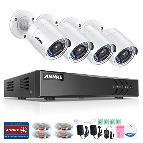 ANNKE-Kit-de-seguridad-8CH-DVR-TVI-1080P-Lite-y-4-Cmaras-de-vigilancia-IR-cut-Deteccin-de-movimiento-IP66-Impermeable-No-disco-duro-de-vigilancia