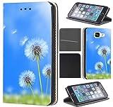 Samsung Galaxy S4 Mini Hülle von CoverHeld Premium Flipcover Schutzhülle Flip Case Motiv (1586 Puste Blume Blau Wiese)