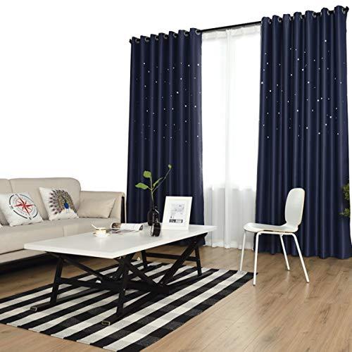 Stella stampa blu navy nero fuori cortina tessuto tende soggiorno tenda da pavimento a soffitto finestra bay window ombra tende isolanti per ragazze camera da letto,200 * 200cm(79x79in)