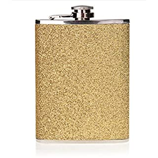 7oz Stainless Steel Hip Flask with Glitter Wrap (Gold)