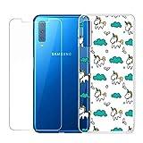 SCDMY per Samsung Galaxy A7 2018 Cover Protettiva + Trasparente in Vetro Temperato, Morbida Silicone Molle Case TPU Shell Bumper Copertura Custodia per Samsung Galaxy A7 2018 (6.0 Pollice) -HX55