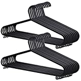 AMOS 20 X Plastic Clothes Hanger Garment Coat Dress Skirt Adult Size Hangers with Suit Trouser Bar & Lips (Black) Bild