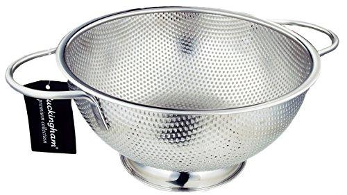 Buckingham mikroperforierten Edelstahl Sieb Sieb für Reis Pasta Spaghetti Nudeln Gemüse Früchte, Kochen und Küche Sie–25,5cm, Edelstahl.