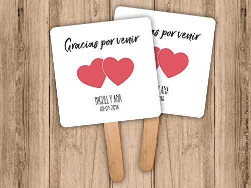 Pai Pai para bodas con corazones personalizado. Pack de 25 unidades.