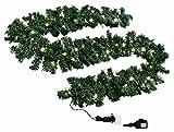 SSITG Tannengirlande beleuchtet Länge 8,1 m 120 LED-Lichterkette Girlande Tanne aussen