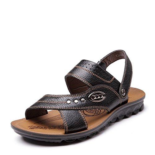 SU@DA Pantoufles de garçons 2016 summer/coréen/nouveau/hommes/casual sandales/Chaussures/cuir/plage Black