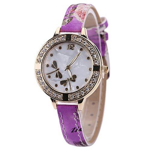 Annual Ca Design (Sanwood Damen Armbanduhr, Zifferblatt im Libellen-Design, Armband mit Blumenmuster, Violett)