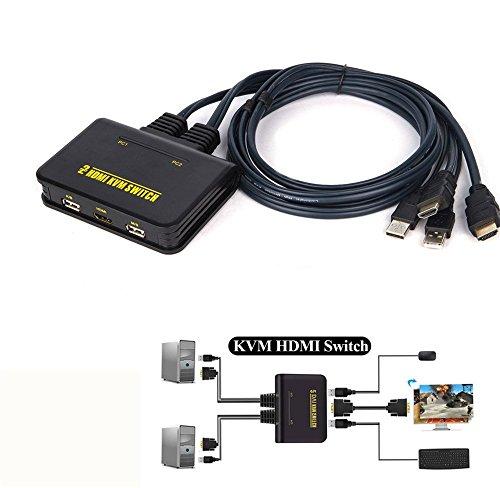 HD KVM Conmutador HDMI 2 puertos El teclado mouse