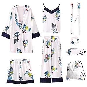 Kllomm Sieben Stück Pyjama Frauen Baumwoll-Hosenträger Langarm-Strickjacke Studenten Baumwolle Oberbekleidung -XL
