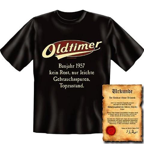 zum 60. Geburtstag Set T-Shirt und Urkunde - OLDTIMER BAUJAHR 1957 - kein Rost nur leichte Gebrauchsspuren Topzustand Gr: XL in schwarz : )