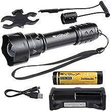Evolva Future Technology 38mm T20 IR luz infrarroja linterna antorcha lente de visión nocturna por infrarrojos de luz de la linterna - La luz infrarroja es invisible al ojo humano - Para ser utilizado con dispositivos de visión nocturna (antorcha + batería + cargador + interruptor de presión + montaje alcance)